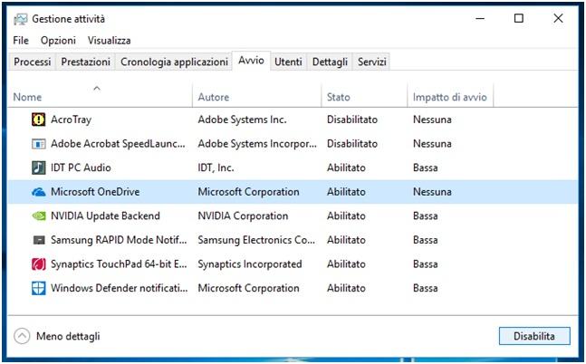 Come bloccare l avvio automatico dei programmi in Windows 10 disabilita