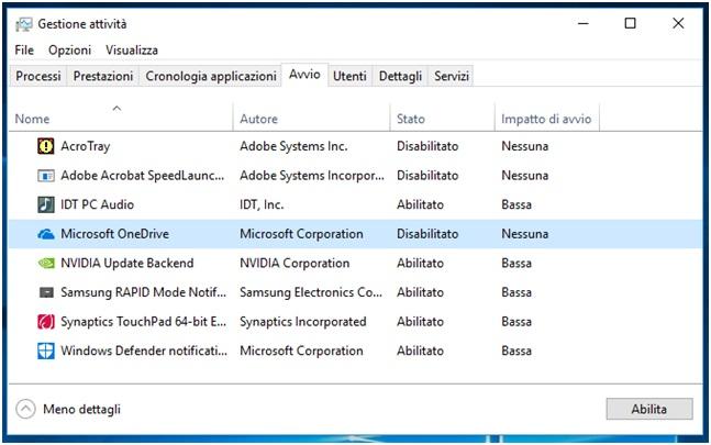 Come bloccare l'avvio automatico dei programmi in Windows 10 abilita