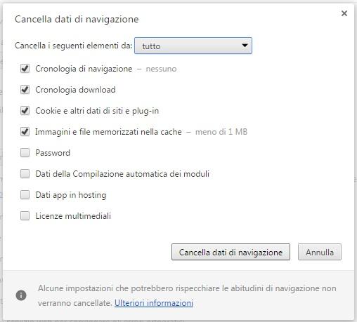 Come cancellare cronologia e dati di navigazione da Google Chrome cancellazione