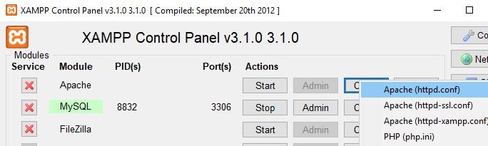 Come correggere errore Port 80 in used by system di XAMPP in Windows 10 httpd.config