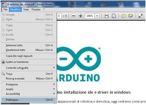 Come disabilitare Avanzamento Preparazione Contenuto in Adobe Reader menu impostazioni