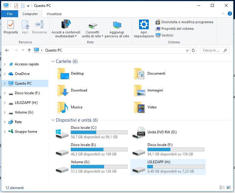 Come visualizzare il contenuto di una penna USB in Windows 10 questo computer