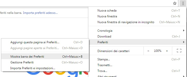 Come visualizzare o nascondere la barra dei preferiti in Google Chrome menu preferiti