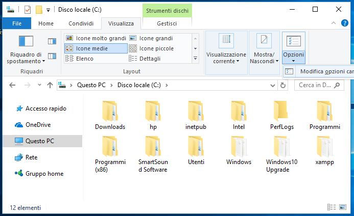 Come visualizzare cartelle e file nascosti in Windows 10 visualizza opzioni