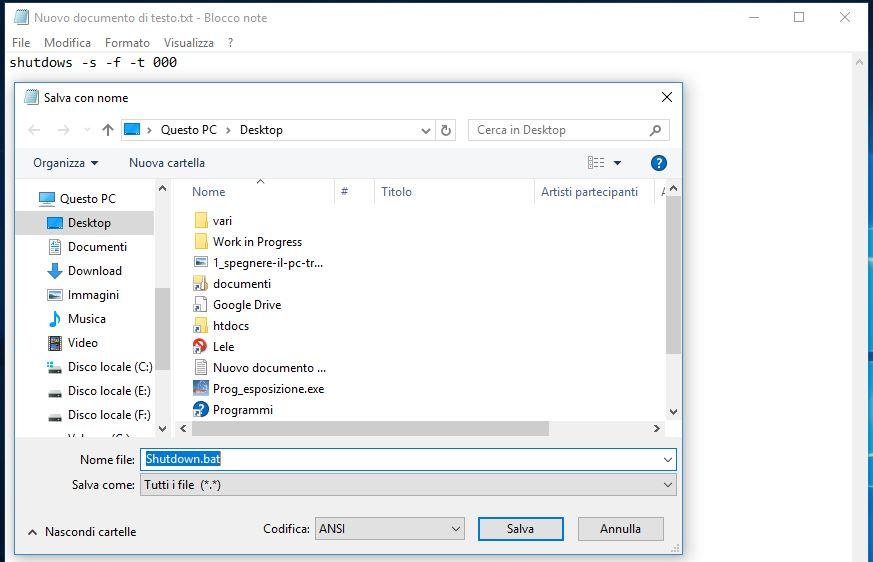 Spegnere il PC tramite comandi batch in Windows salva