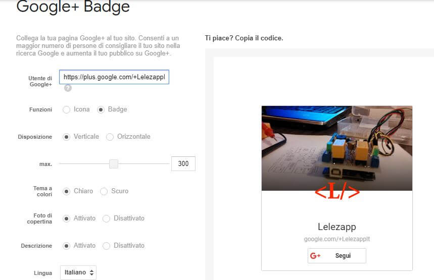 Come creare il Badge di Google Plus link pagina