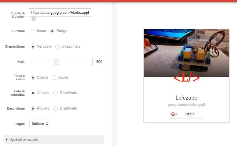 Come creare il Badge di Google Plus personalizzazione