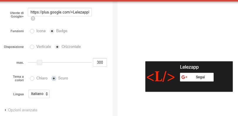 Come creare il Badge di Google Plus tema scuro