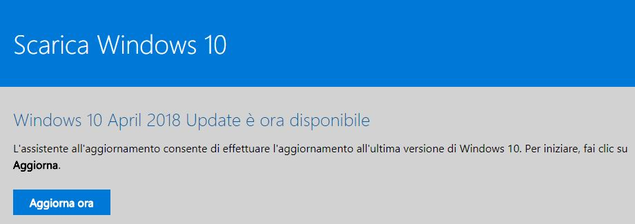Come installare manualmente Windows 10 April 2018 Update download