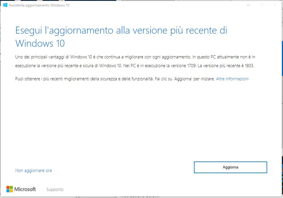 Come installare manualmente Windows 10 April 2018 Update aggiorna