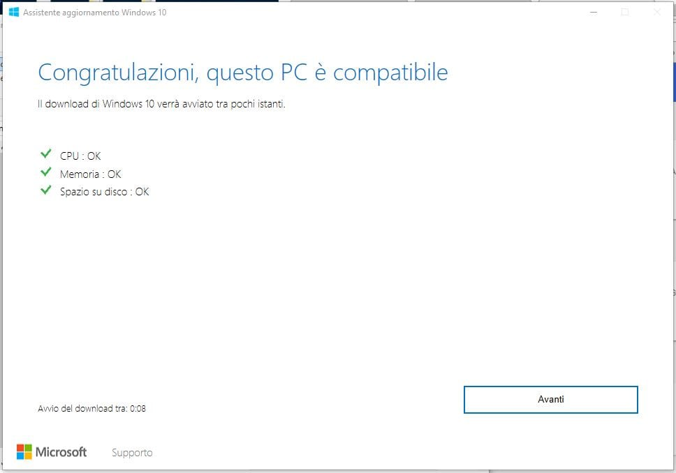 Come installare manualmente Windows 10 April 2018 Update avanti