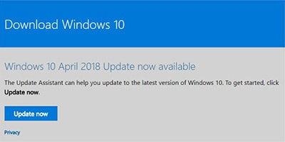 Come installare manualmente Windows 10 April 2018 Update