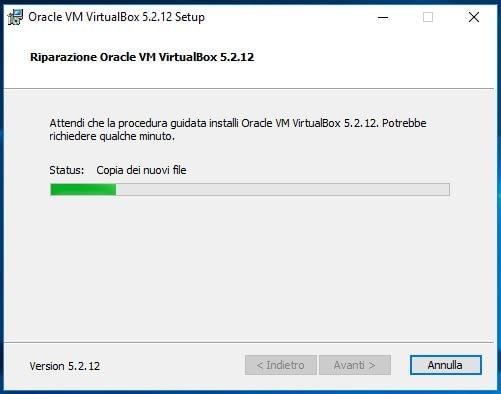 Correggere errore NtCreateFile 0xc000000034 STATUS_OBJECT_NAME_NOT_FOUND in VirtualBox avanzamento
