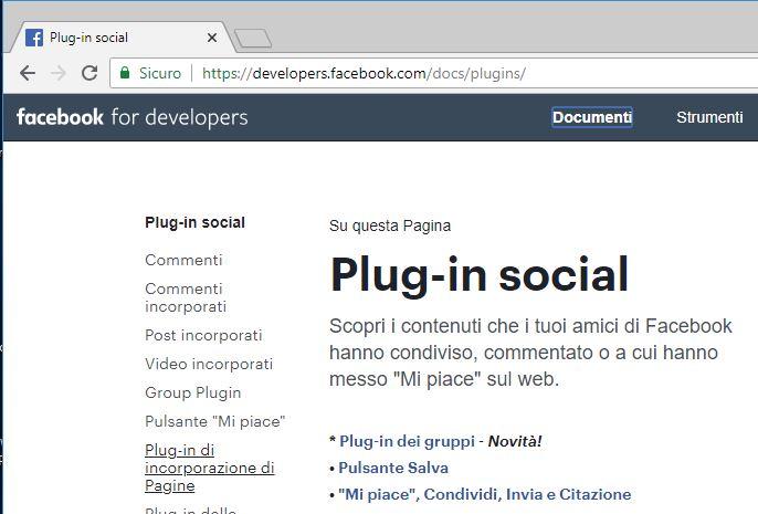 Creare il box della pagina Facebook da aggiungere al sito seleziona plug-in