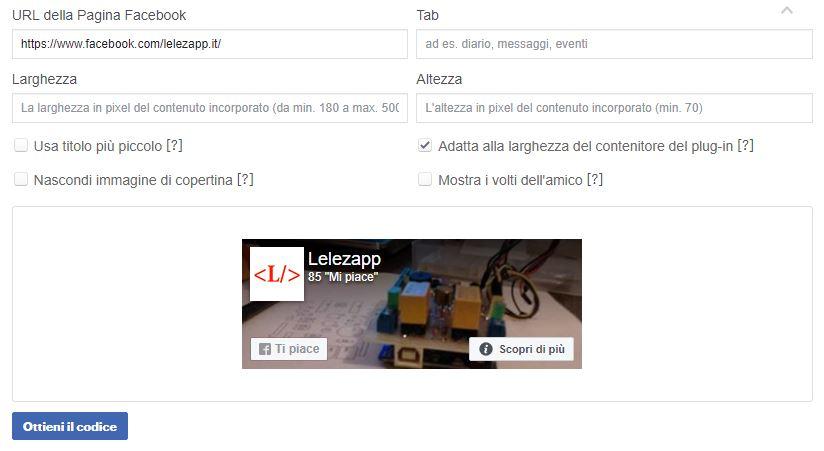 Creare il box della pagina Facebook da aggiungere al sito anteprima