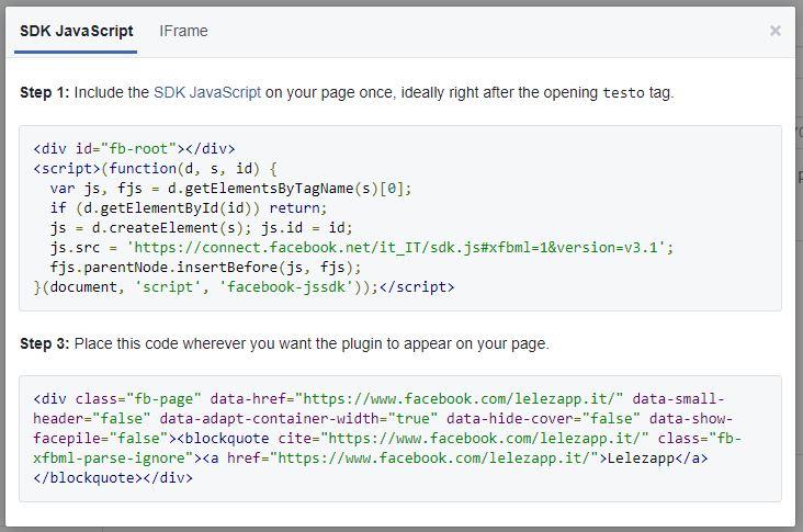Creare il box della pagina Facebook da aggiungere al sito codice