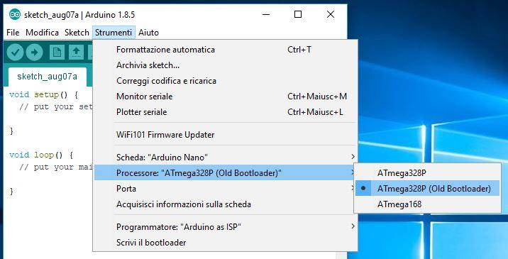 Aggiornare bootloader ATmega328P Nano con Arduino Uno e connettore ISP old bootloader