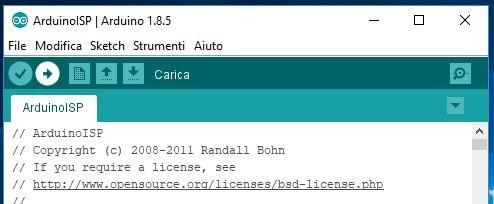 Carica sketch ArduinoISP