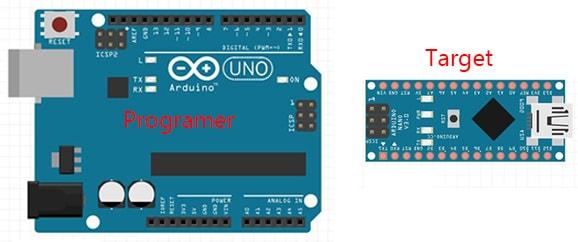 Aggiornare bootloader ATmega328P Nano con Arduino Uno e connettore ISP target e programmer