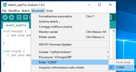 Programmare Arduino LilyPad con convertitore FTDI FT232RL selezione porta