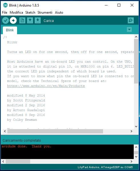 Programmare Arduino LilyPad con convertitore FTDI FT232RL carica sketch