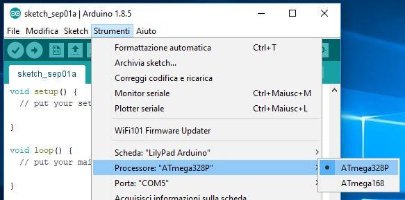 Programmare Arduino LilyPad con convertitore FTDI FT232RL seleziona processore