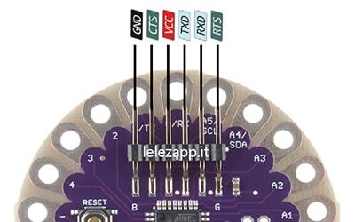 Programmare Arduino LilyPad senza convertitore FTDI piedinatura