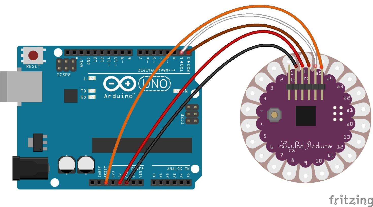 Programmare Arduino LilyPad senza convertitore FTDI collegamenti con fritzing