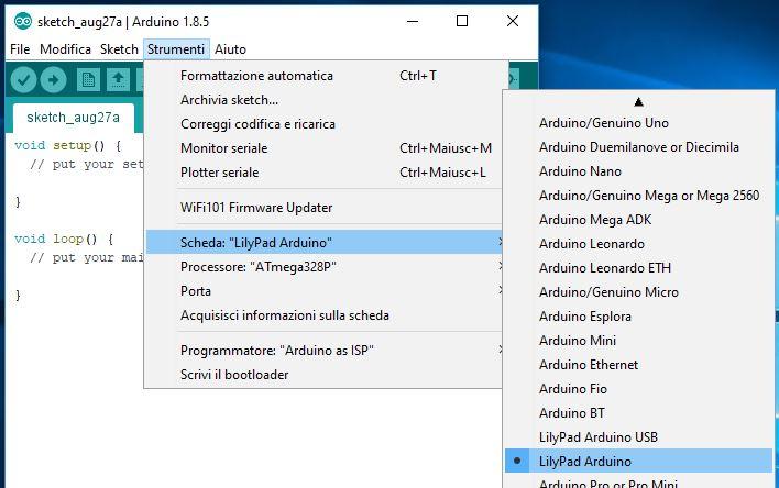 Programmare Arduino LilyPad senza convertitore FTDI selezione scheda