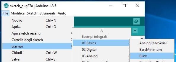 Programmare Arduino LilyPad senza convertitore FTDI selezione sketch blink