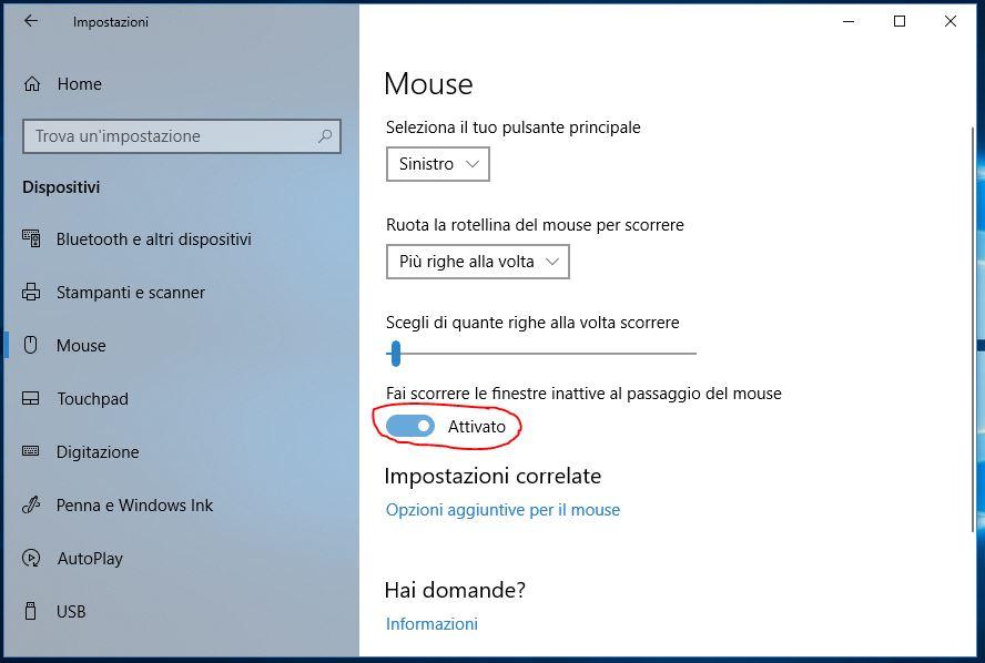 Scroll con rotella del mouse non funzionante in Windows 10 attivato disattivato
