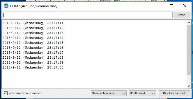 Modulo DS3231 Real Time Clock con Arduino Uno risultato