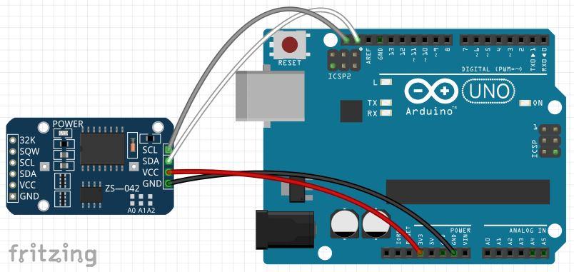 Modulo DS3231 Real Time Clock con Arduino Uno circuito fritzing