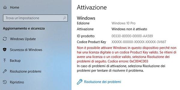 Licenza di Windows 10 Pro risulta non valida impostazioni