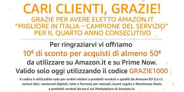 Sconto di 10€ su Amazon