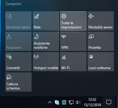 Associare il pulsante Stamp a Cattura e note in Windows 10 impostazioni