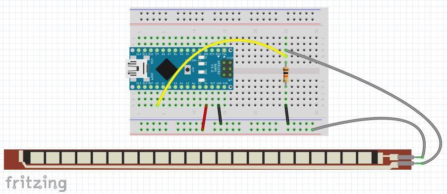 Come leggere il sensore di flessione con Arduino circuito fritzing