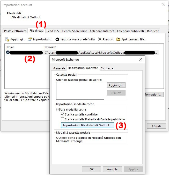 Come velocizzare Outlook compattando i file .ost file di dati