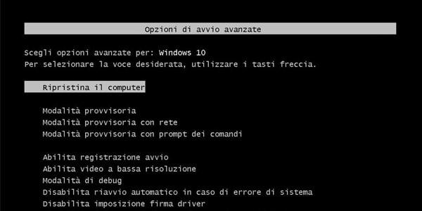 Ripristinare tasto F8 per avviare modalità provvisoria in Windows 10