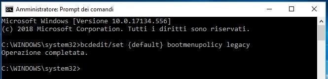 Ripristinare tasto F8 per avviare modalità provvisoria in Windows 10 esito istruzione