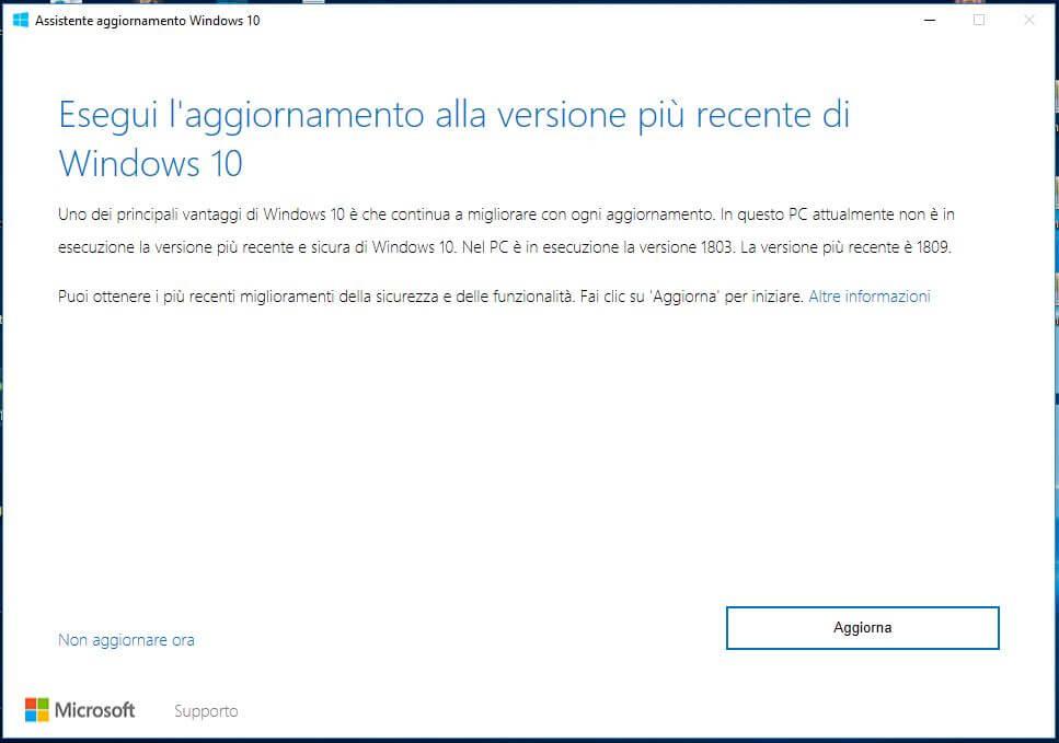 Forzare l'aggiornamento a Windows 10 October Update 1809 aggiorna