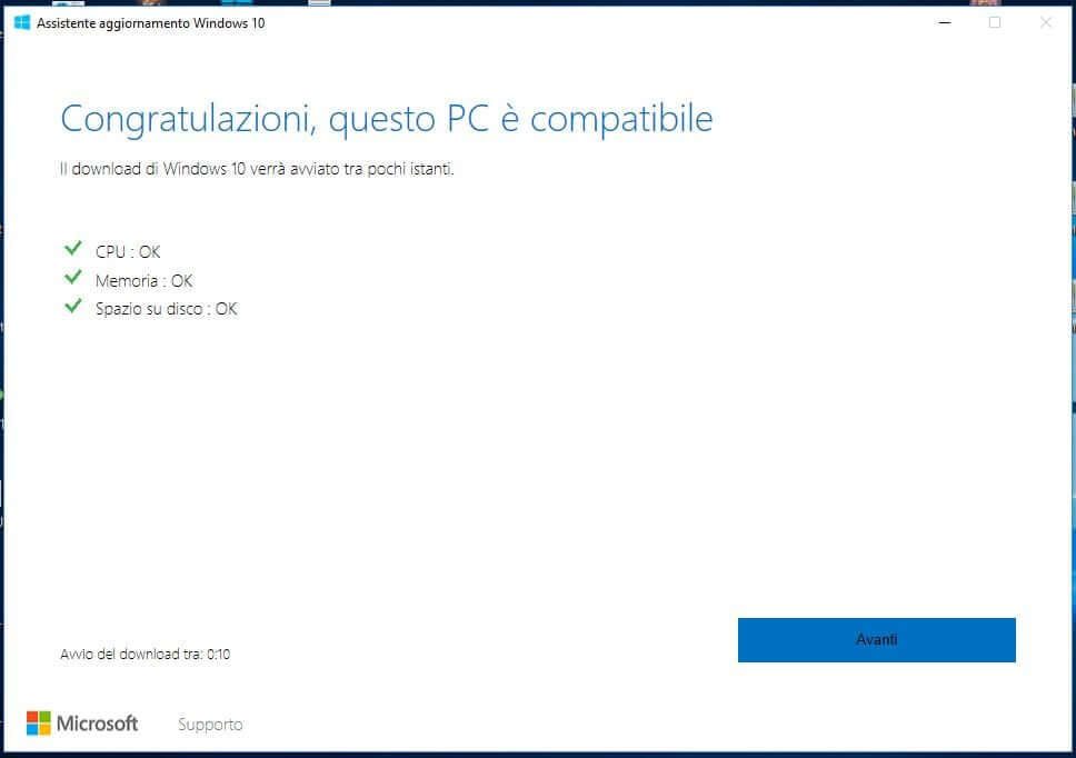 Forzare l'aggiornamento a Windows 10 October Update 1809 avanti