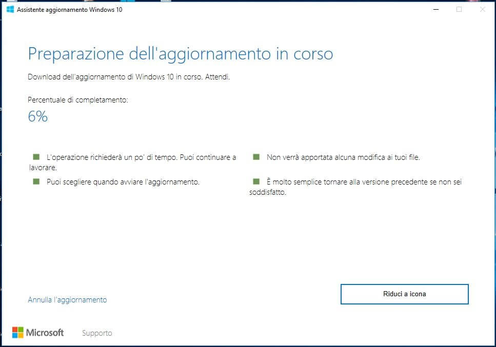 Forzare l'aggiornamento a Windows 10 October Update 1809 download