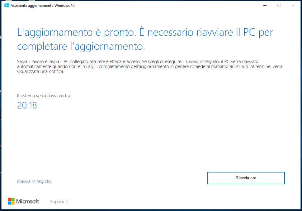Forzare l'aggiornamento a Windows 10 October Update 1809 riavvia ora