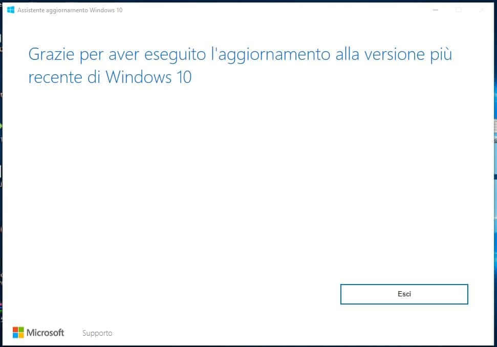 Forzare l'aggiornamento a Windows 10 October Update 1809 esci