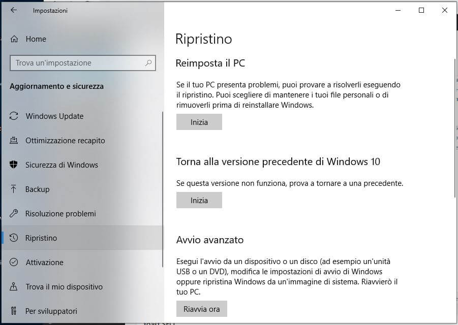Forzare l'aggiornamento a Windows 10 October Update 1809 ripristina