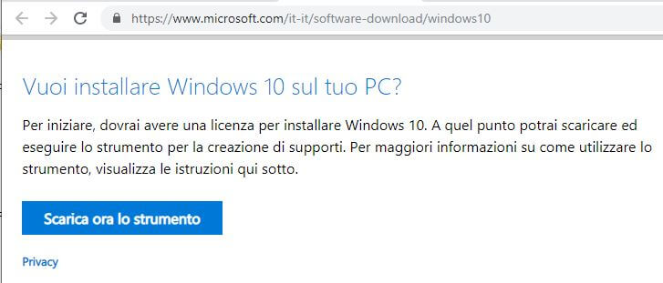 Come creare una chiavetta USB per installare Windows 10 download strumento