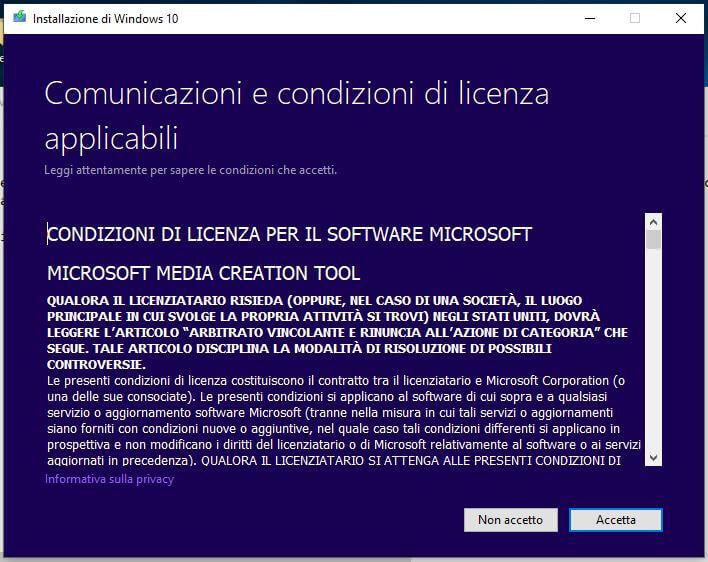 Come creare una chiavetta USB per installare Windows 10 condizioni di licenza