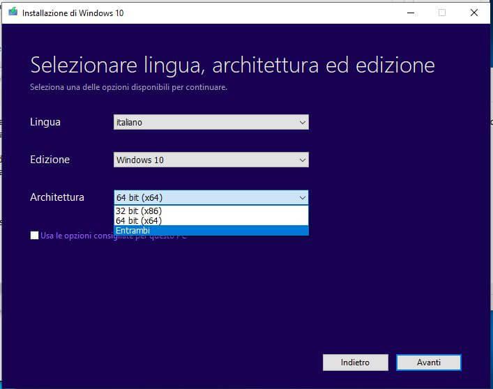 Come creare una chiavetta USB per installare Windows 10 configurazione OS