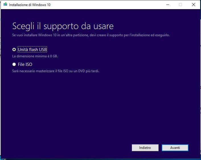 Come creare una chiavetta USB per installare Windows 10 scelta supporto